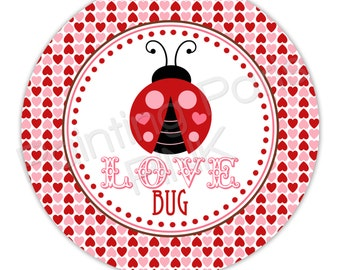 "Love Bug Valentine Personalized 10"" Melamine Plate, 20 oz. Bowl or 2 Piece Set 