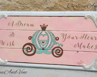 Cinderella Inspired-Girls Room-Baby Girl-Shabby Cottage Chic-Sign-Disney Princess-Cinderella Carriage-Hand Painted