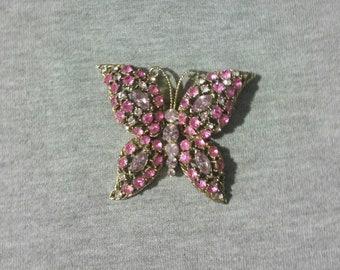 Vintage Pink Rhinestone Butterfly Brooch/Pin