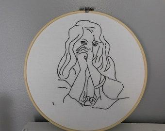Henri Matisse Drawing 10 in. Hoop Embroidery Art