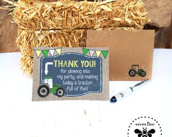 Tractor Thank You Cards PRINTED with matching recycled kraft Envelopes