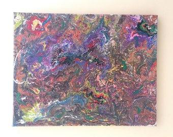 Pour Painting, Fluid Art Painting, Abatract Original Painting Art Decor Elegant - Mixture#1