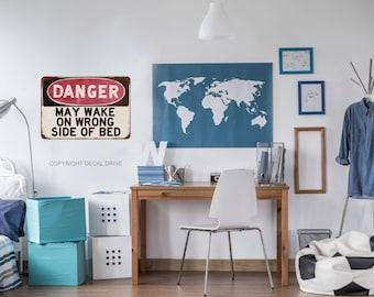 Teen Wall Decals - Teen Bedroom Decor - Danger Sign - Teen Boy Wall Art - Old Signs - Vintage Decals - Vintage Signs - Tween Boy Wall Art