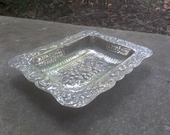 Art Nouveau Silver Plate Repousse Bowl Vintage Silver Plate Card Tray Wedding Decorations Table Decor French Country Vanity Tray