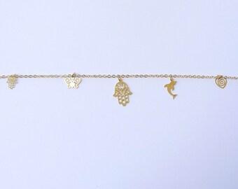 "Jewish Kabbalah Gold tone ""Hamsa"" Evil Eye  String Stretch Bracelet with Hamsa pendant"