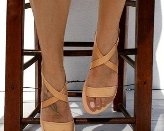 THETIS sandals/ ancient Greek leather sandals/  classic leather sandals/ handmade sandals/ natural leather sandal/ criss cross strap sandals