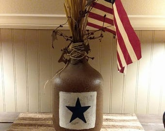 Glass jug Americana decor