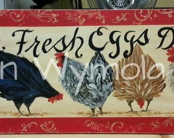 "11"" x 36""  #507 Chickens Hens Art on Rustic Wood PERSONALIZED"