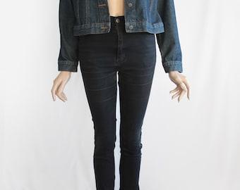 80s Vintage Sturdy Blue Denim Jean Jacket for Women