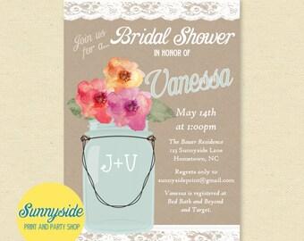 Lace Mason Jar Bridal Shower Invitation, Wedding Party Invite, PRINTABLE Invitation, Kraft, Burlap, rustic wedding shower invitation