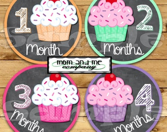 Cupcake Baby Girl Monthly stickers Baby Shower gift Baby Month sticker Month baby sticker Milestone stickers Onepiece chalk chalkboard decal