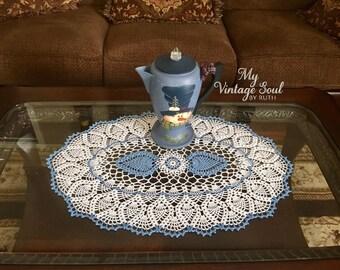 Blue Christmas Doily - Coffee Table Doily - Pineapple Crochet Doily - Farmhouse Decor - Wedding Gift - Housewarming Gift - Oval Doily