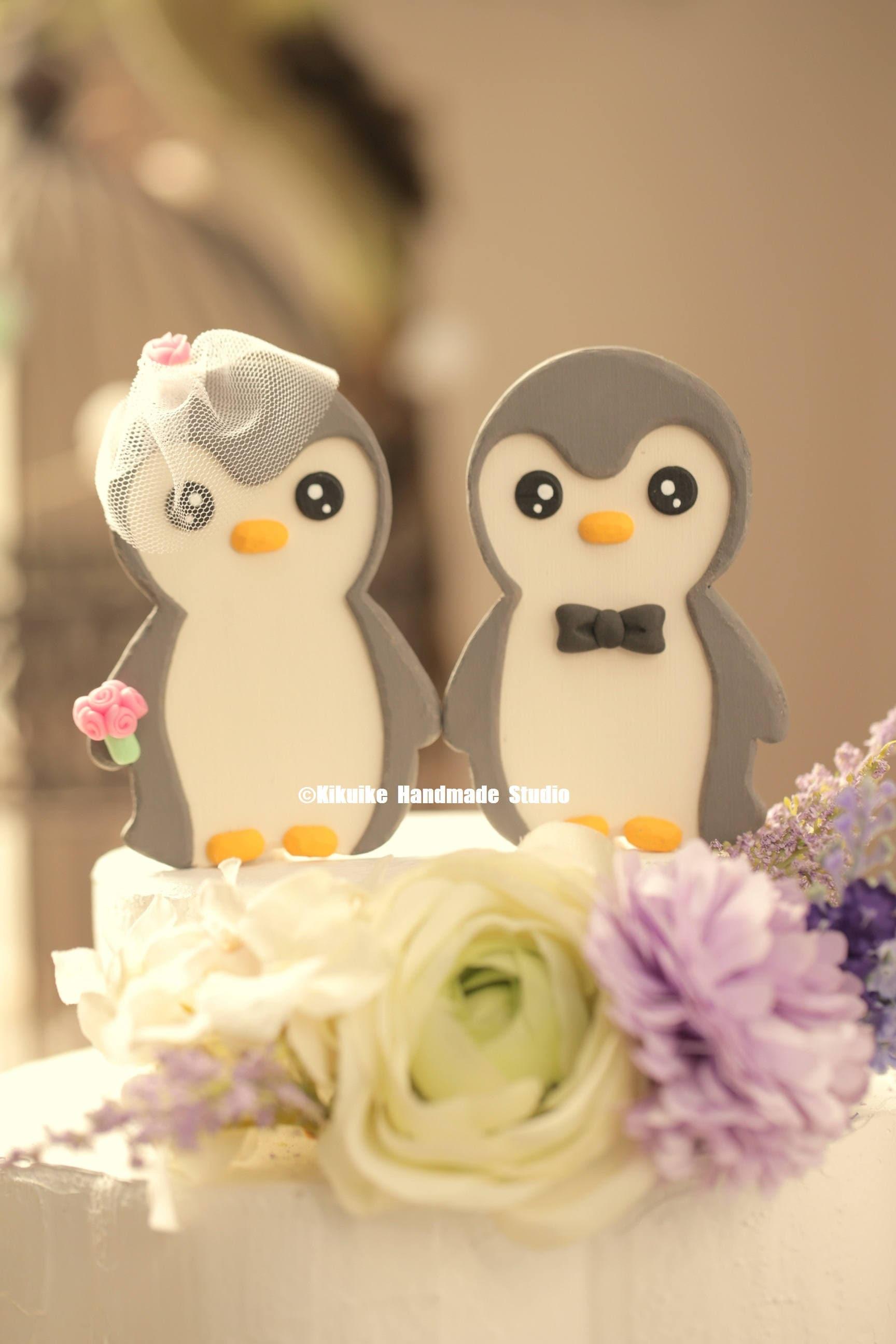 penguins wedding cake topper Handmade penguins cake