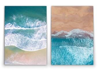 AERIAL BEACH Sand Sea Bird's Eye - 2 x Wall Art Print Poster Canvas - On Trend
