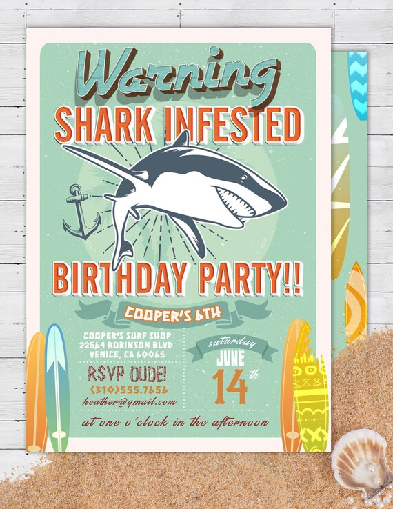 Shark Invitation Pool Party Invitation Surfer Birthday