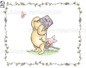 Set of 5 Classic Winnie the Pooh and Piglet Cards - Instant Download - 5 PDFs