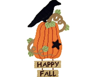 PATTERN: Happy Fall Wall Hanging in Plastic Canvas
