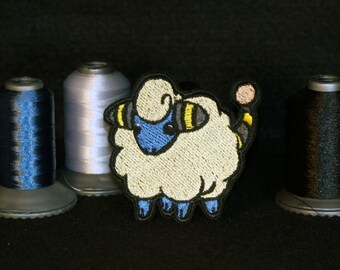 Mareep Shiny Metallic Embroidery iron on patch. Pokemon patch.
