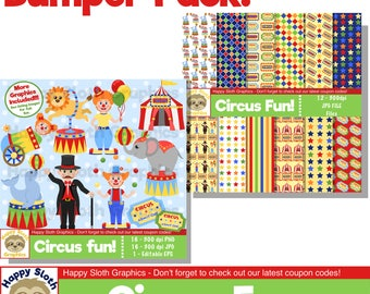 Circus Fun digital paper AND clip art set, personal and commercial use Clown digital clipart and Scrapbooking papers.