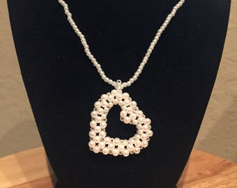 Pearl heart necklace with pearl chain! Great for Valentine's Day!