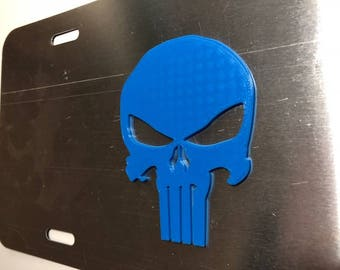 PuNiShEr Skull in 3D  - Grey with Blue License Plate INSERT-  scary punisher style Sniper American Hero