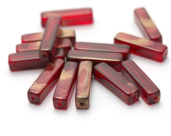 Vintage Lucite Wine Red Gold Wash Rectangle Beads 25mm (12)