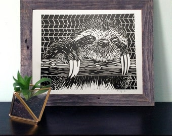 Sloth Linocut Print