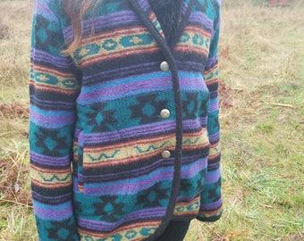 Women's Woolrich Patterned Wool 3 Button Coat Size Large