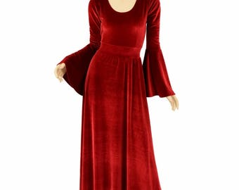 Red Stretch Velvet Renaissance Gown with Gypsy Sleeves and Scoop Neckline.  Made To Order -  154949