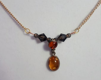 Beaded Bar Necklace / Bar Necklace / Glass Beads