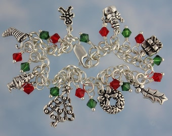 I Love Christmas bracelet - 8 sterling silver holiday and winter themed charms, red and green Swarovski crystals on sterling silver chain