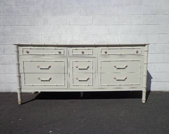 Bamboo Dresser Thomasville Allegro Table Faux Rattan Bedroom Console Chest  Drawers Regency Chinoiserie Boho Chic Campaign
