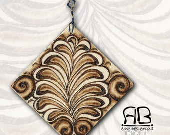 """Small painting or decorative element, in Pirografato wood, subject """"Palmettes from the Past"""""""