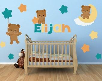 Bear Wall Decal - Teddy Bear Wall Decal - Teddy Bear Nursery - Nursery Wall Decals - Baby Bear Decals - Bear Decals -Children Wall Decals