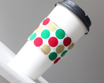 Coworker Gift - Coffee Cup Sleeve - Stocking Stuffer - Polka Dots Coffee Sleeve - Hostess Gift - Holiday Gift Exchange - Teacher Gift