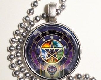 Astrology Pentagram Wicca Altered Art Photo Pendant, Keychain and/or Earrings, Round, Silver and Resin Charm Necklace