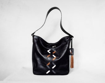 Black leather hobo bag. Black leather shoulder bag. Leather lacing bag.