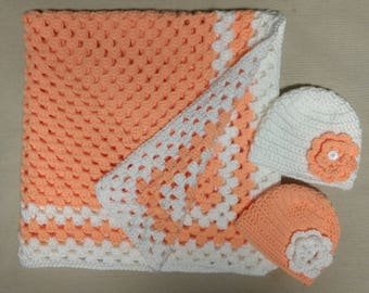 Crochet Baby Blanket With Hats Set Of Two For Newborns, 0-3 Months