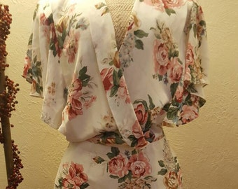 Vintage Rayon Floral Day Dress/
