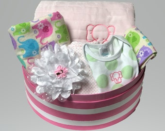 Unique baby gifts made with love by scsewingcreations on etsy baby girl elephant gift basket elephant baby gift elephant themed baby gift corporate negle Images