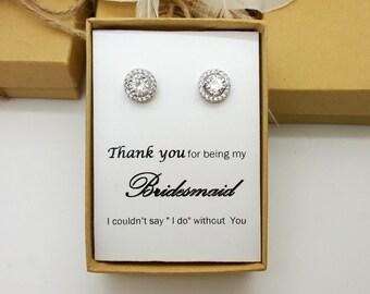 Bridesmaid Earring  Jewelry gift ,Bridesmaid Gift, Maid of Honor Jewelry, Cubic Zirconia Flat Halo Eaarings.