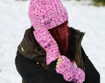 Purple Pink Beanie Cap Gloves Crochet and Handmade