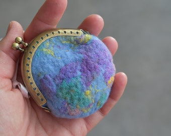 Wool felted purse kiss lock coin purse felt pouch small gifts for women accessory purse jewellery pouch blue multi 12152