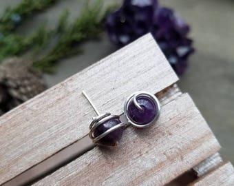 Sterling Silver Orbit Stud Gemstone Earrings on 8mm or 6mm