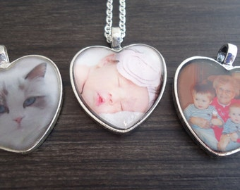 Heart Photo Necklace and/or Wedding Bouquet Charm - Gift for Mom - Gift for Her - Photo Pendant