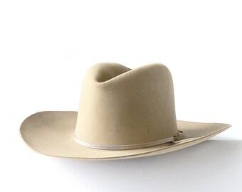 Vintage Dobbs Hat Rancher Thirty Rancher Cowboy Hats Beige Wool Felt Dobbs Hat Movie Prop Western Decor Midland Texas S&Q FREE SHIPPING