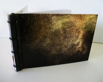 Gold Dust Handmade Journal, Recycled Notebook with Hardcovers, Japanese Stab Bound Book OOAK