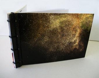Or la poussière Journal à la main, carnet recyclé avec Couvertures cartonnées, couteau japonais lié livre OOAK