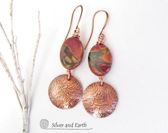 Red Creek Jasper Earrings, Copper Earrings, Natural Stone Jewelry, Handmade Copper Jewelry, Jasper Stone Jewelry, Earthy Casual Earrings