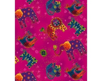 Wild Ones Flannel by Laurel Burch Clothworks Cotton Fabric Y2329-77 Fuchsia Tossed Animals Free shipping U.S.